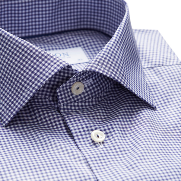 Contemporary Fit Blue Check Stretch Dress Shirt