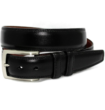 Torino Italian Burnished Kipskin Belt - Black