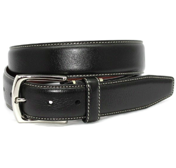 Torino Burnished Tumbled Leather Belt - Black
