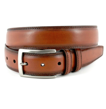 Torino Hand Stained Italian Kipskin Belt - Walnut