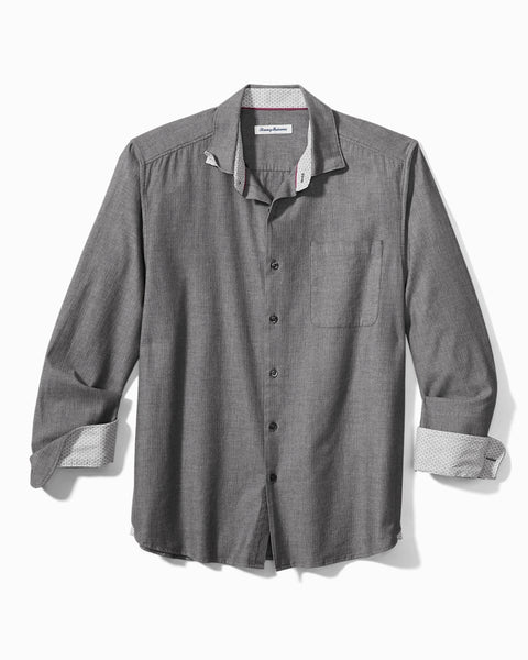 Heather Bay Herringbone Stretch-Cotton Shirt