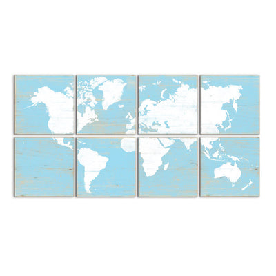 world map decor blue