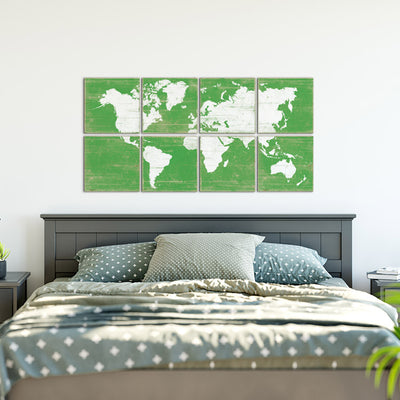 world map decor green