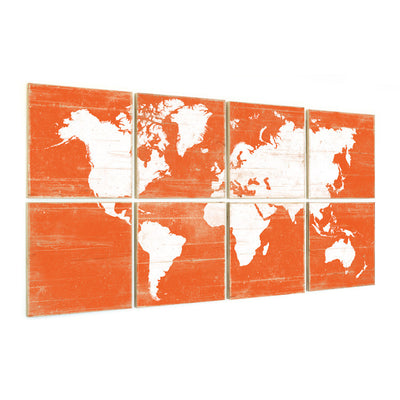 world map decor orange