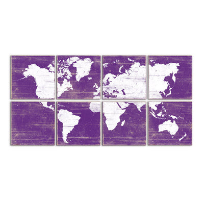 world map decor purple