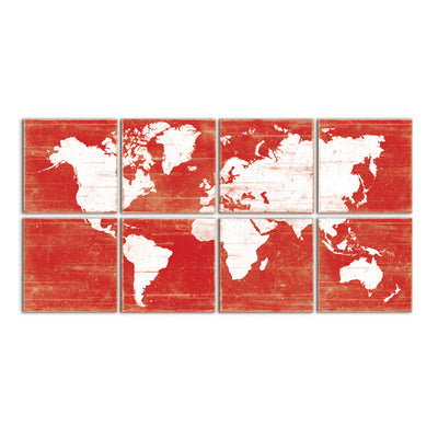 world map decor red