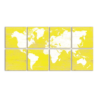 world map decor yellow