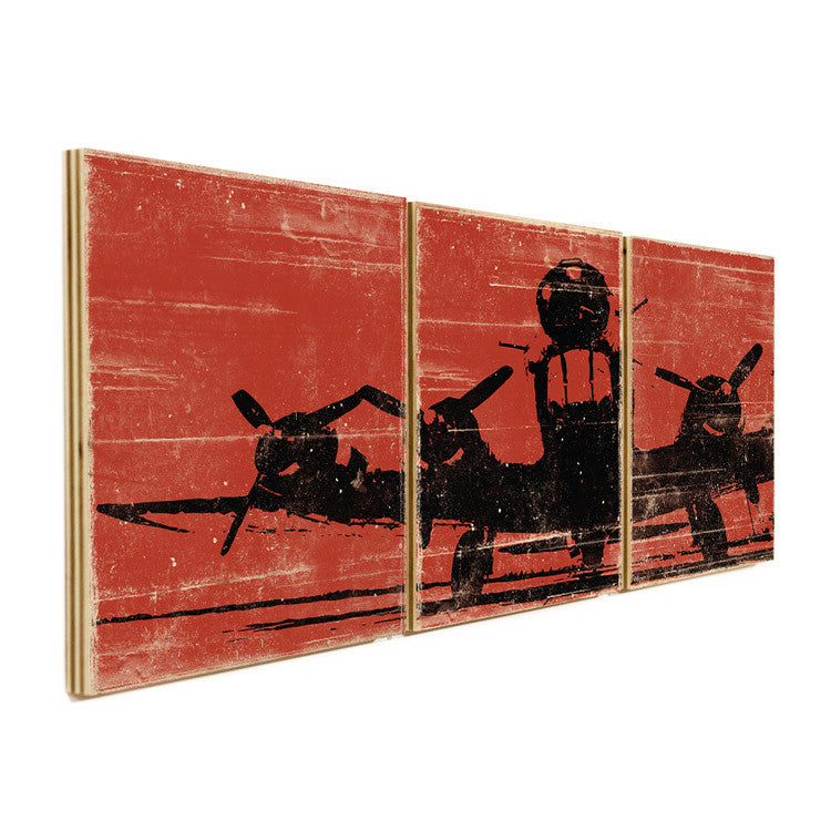 Vintage Airplane Wall Art airplane wall art on wood panels - perfect for airplane kids room