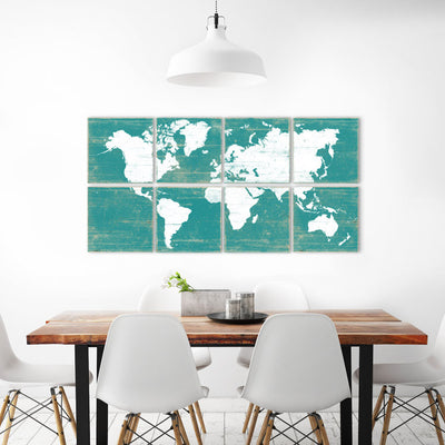 colorful world map decor