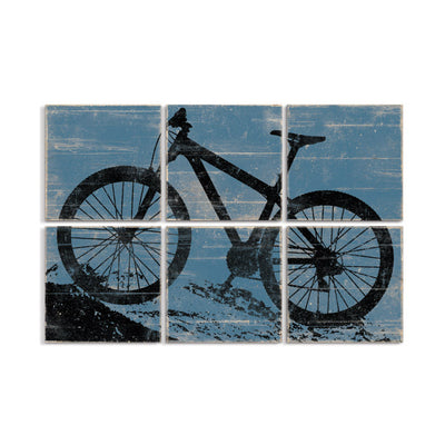 mountain bike wall art blue