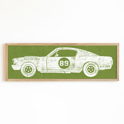 race car art in green