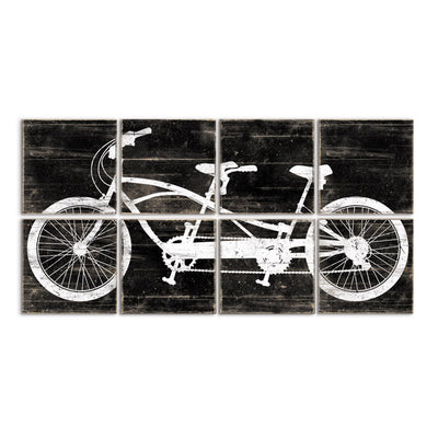 tandem bike art black white