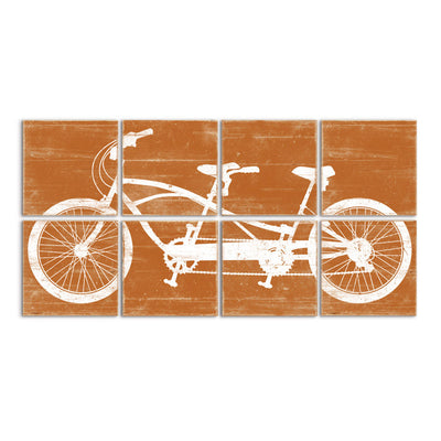 tandem bike art orange