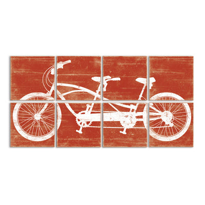 tandem bike art red