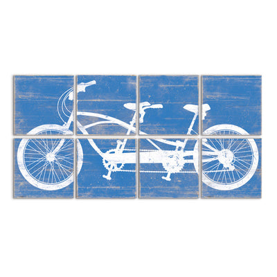 tandem bike wall art blue