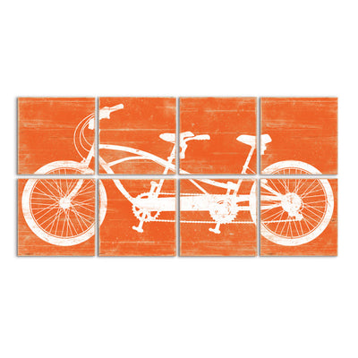 tandem bike wall art orange