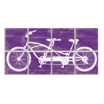 tandem bike wall art purple