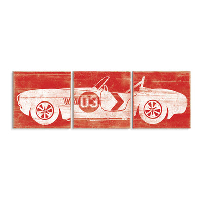vintage car wall art red