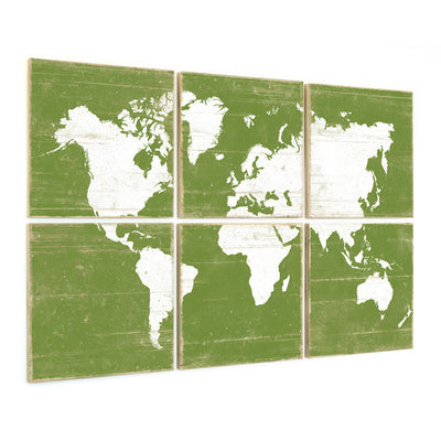 vintage map wall art green