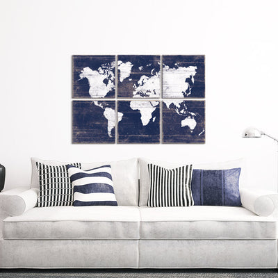 vintage map wall art navy