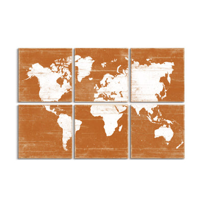 vintage map wall art orange