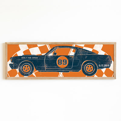 Vintage Race Car Art with Racing Flags