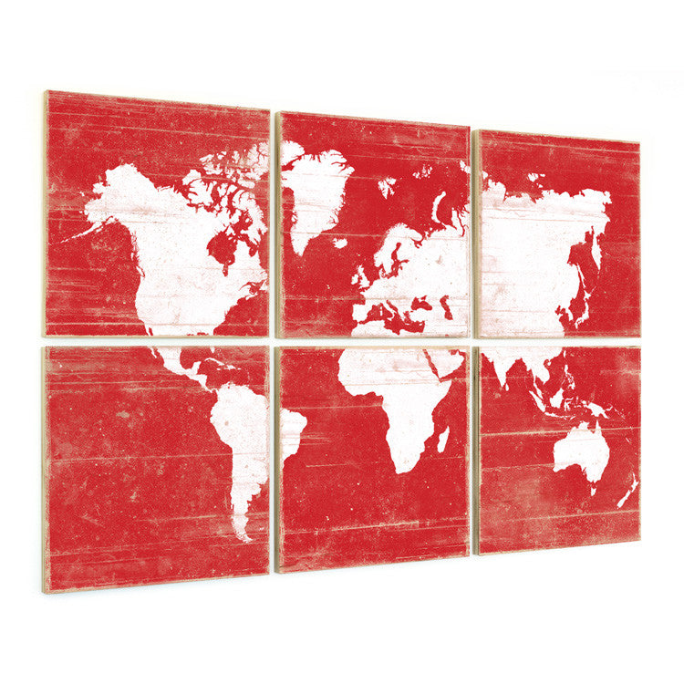 Large world map wall art for sale 6 piece wall art by rightgrain world map art world map wall art bright colors gumiabroncs Choice Image