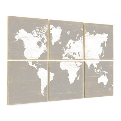 world map wall art gray
