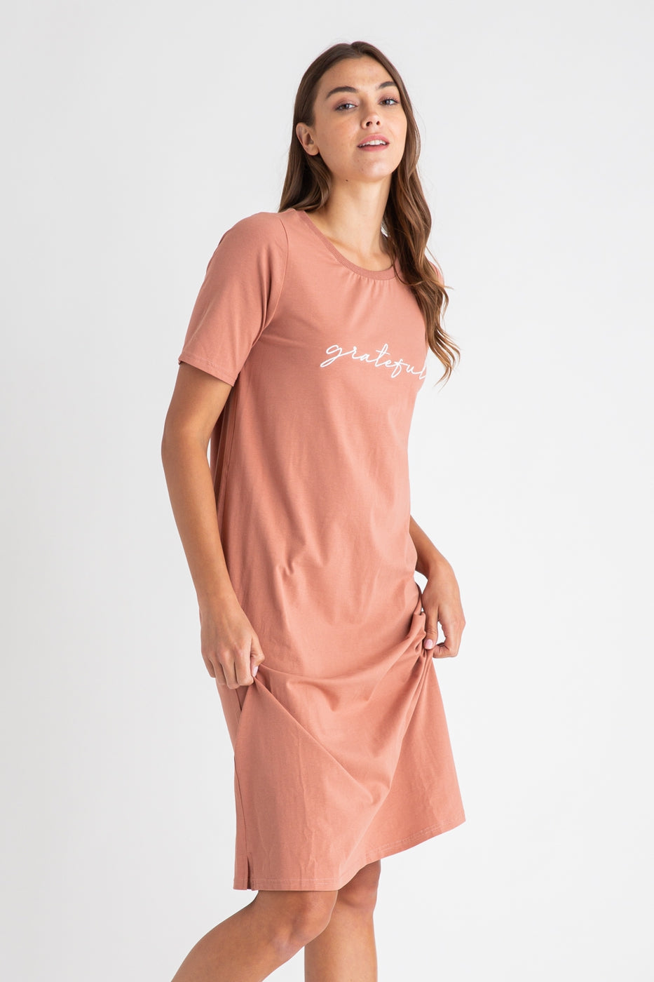 Grateful Tee Dress in Apricot