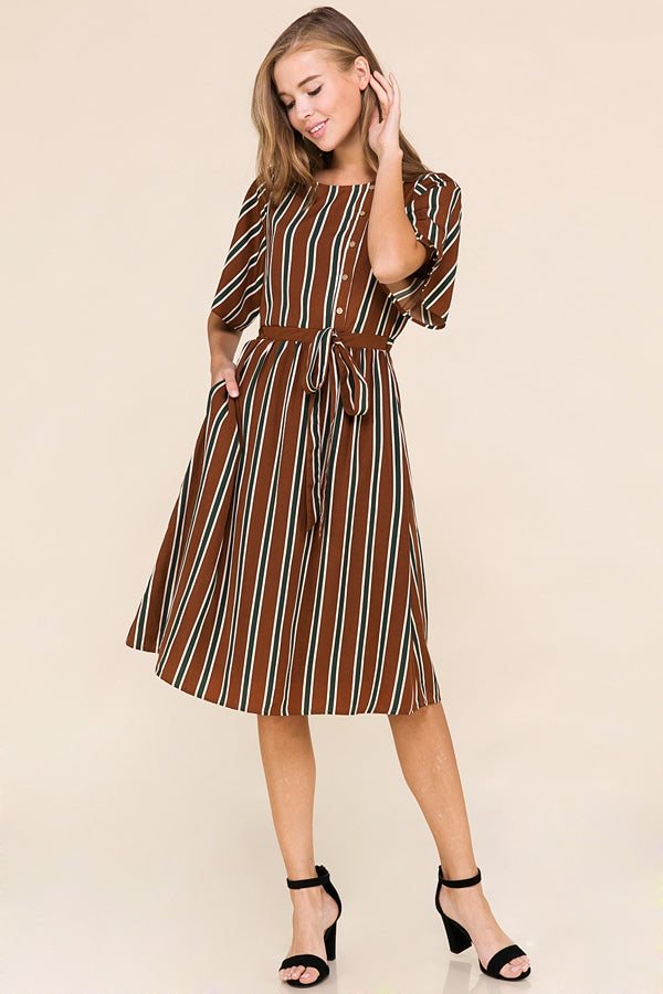 Burke Striped Midi Dress