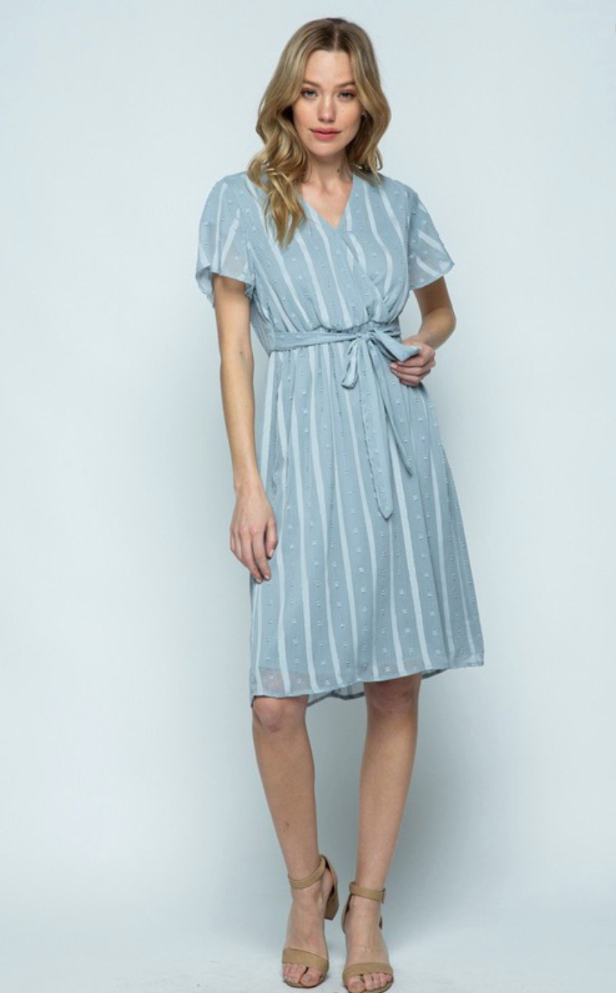 Ensley Dot Dress in Dusty Blue