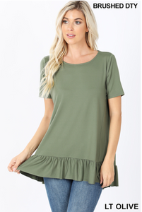 Ruffled Top in Light Olive