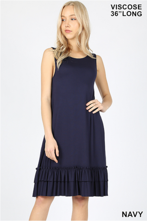 Ruffled Sleeveless Dress in Navy