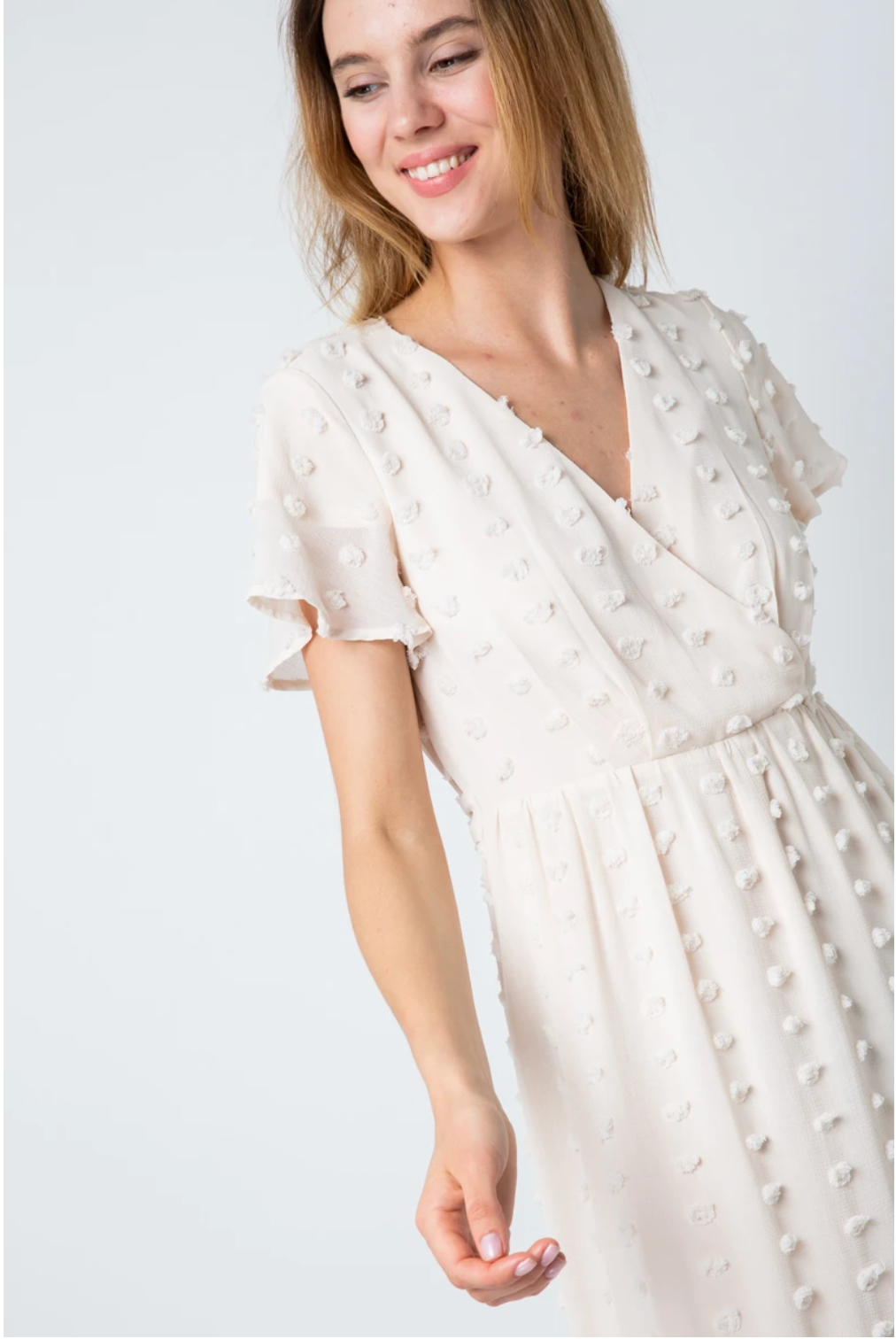 Davina Swiss Pom Dress in Ivory