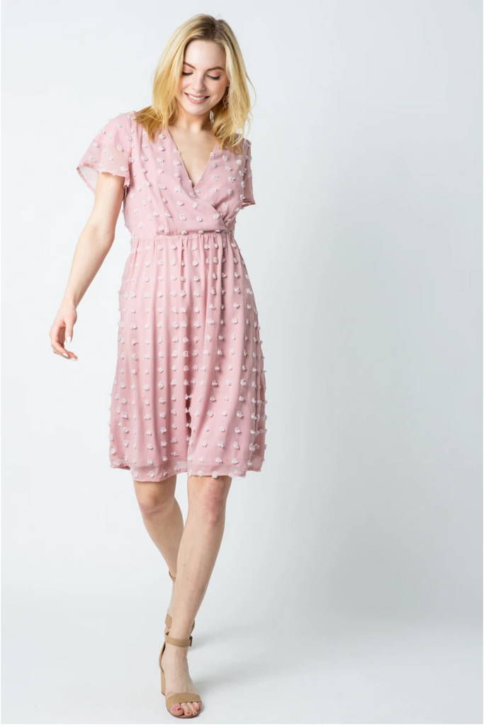 Davina Swiss Pom Dress in Dusty Pink