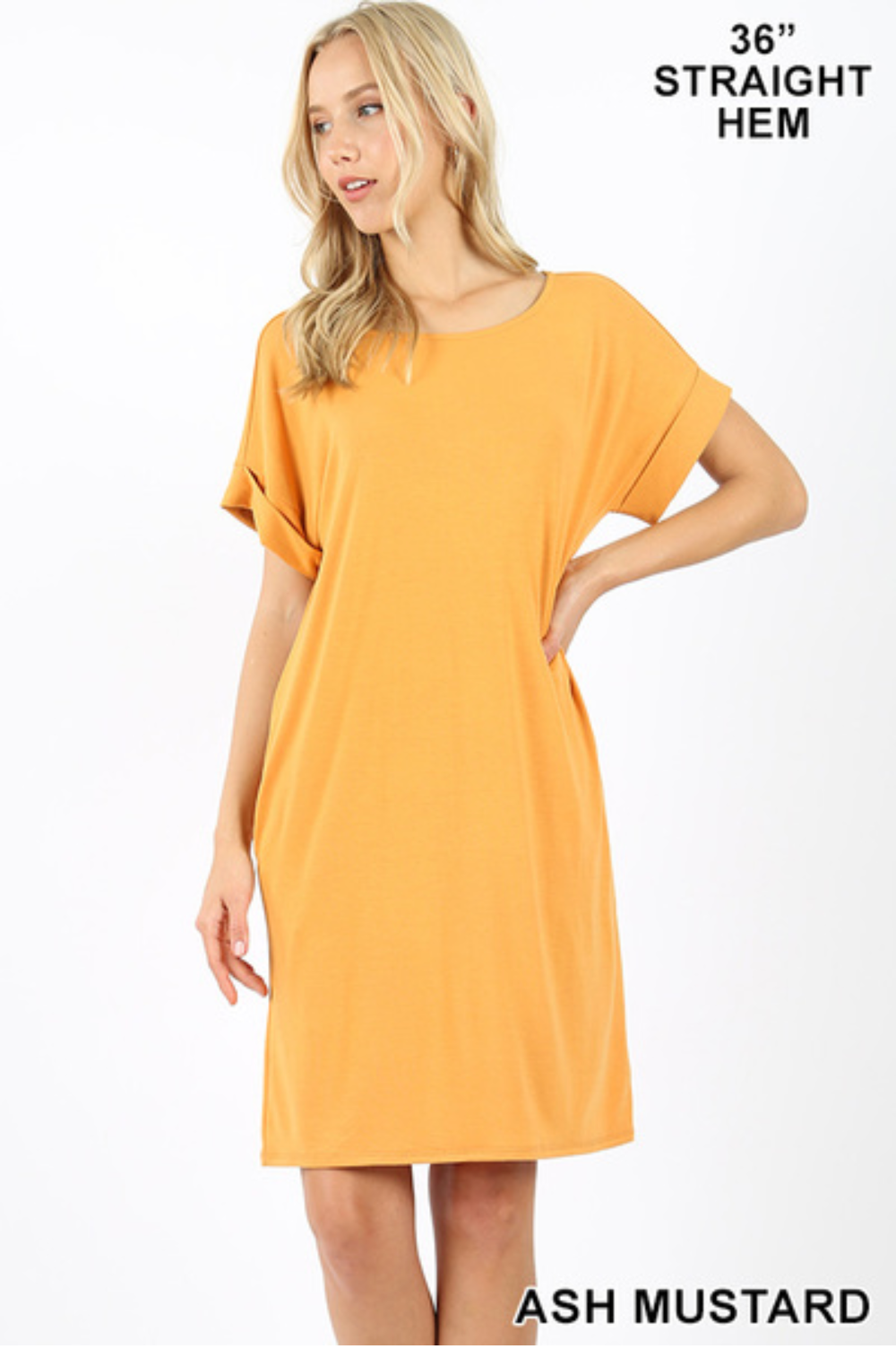 Basic T-shirt Dress in Ash Mustard