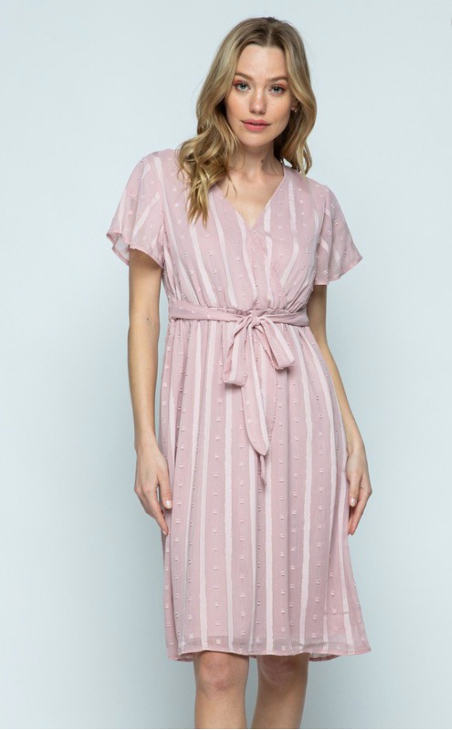 Ensley Dot Dress in Mauve