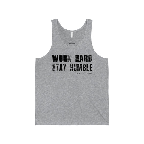 Men's Work Hard Stay Humble Jersey Tank - Live First Fitness