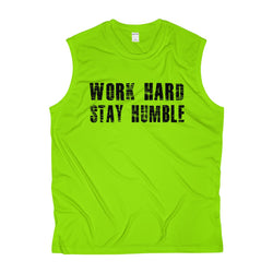 Men's Work Hard Stay Humble Sleeveless Performance Tee - Live First Fitness
