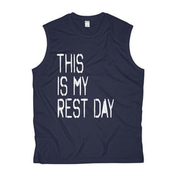 Men's This Is My Rest Day Sleeveless Performance Tee - Live First Fitness