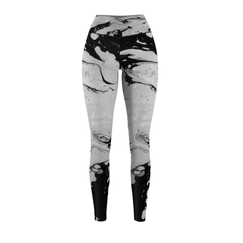 Women's Black and Grey Marble Sport Leggings - Live First Fitness