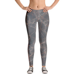 Marble Print Geometric Overlay Leggings - Live First Fitness