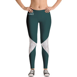 Teal & White Marble Geometric Leggings - Live First Fitness