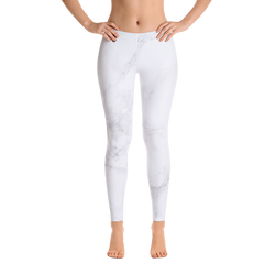 White Marble Print Leggings - Live First Fitness