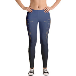 Blue Ombre Tribal Print Leggings - Live First Fitness