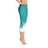 Aqua Paintbrush Printed Capri Leggings - Live First Fitness