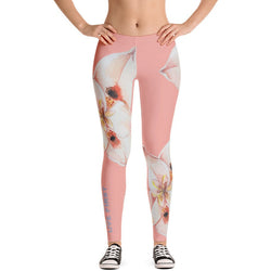 Peach Floral Print Leggings - Live First Fitness