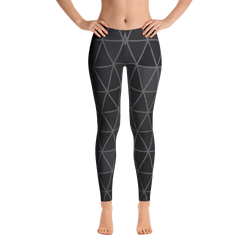 Black and Grey Diamond Graphic Print Leggings - Live First Fitness