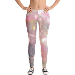 Spring Air Watercolor Floral Print Leggings - Live First Fitness