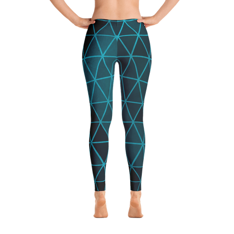 Turquoise Blue Diamond Graphic Print Leggings - Live First Fitness
